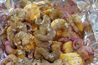 The ingredients for a shrimp boil dinner.