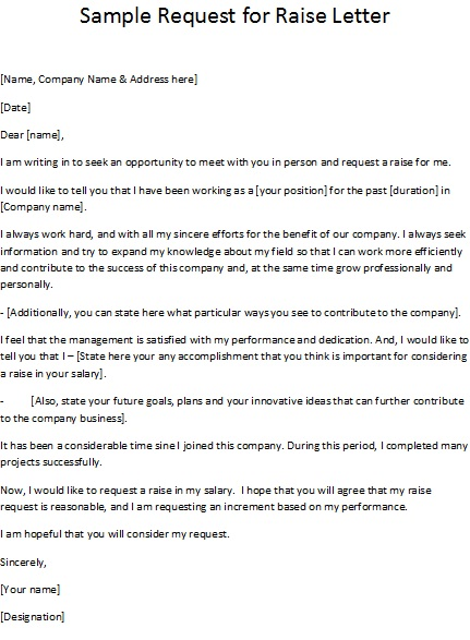 how to ask for a salary in a cover letter - sample request for raise letter
