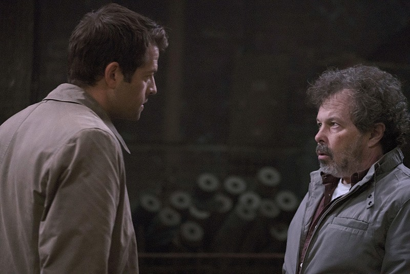 "Misha Collins as Castiel & Curtis Armstrong as Metatron in Supernatural 11x06 ""Our Little World"""
