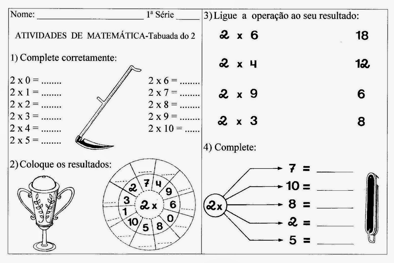 Pedagogia & Cia...: Atividades de Matemática do 3º ano