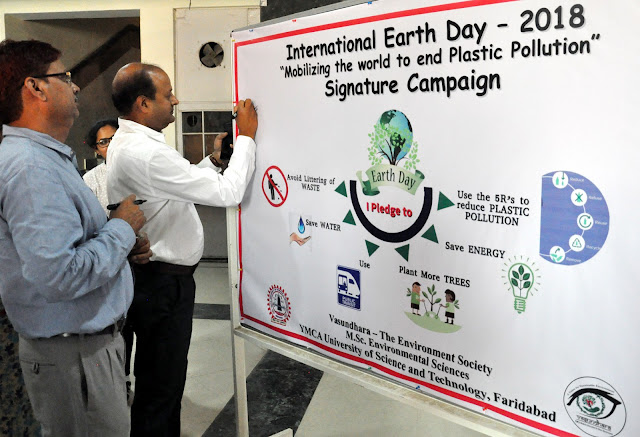 Signature campaign at YMCA University for awareness of plastic pollution