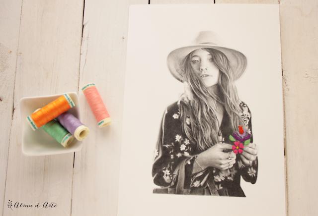 Ilustraciones bordadas sobre papel