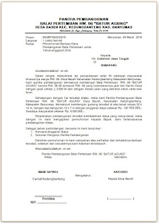 Contoh Proposal Permohonan Pembangunan Balai Pertemuan Kumpulan