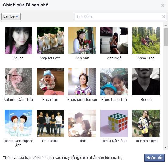Chặn và hạn chế người dùng trong facebook