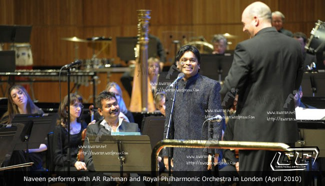 Naveen Performs with AR Rahman and Royal Philharmonic Orchestra in London April 2010