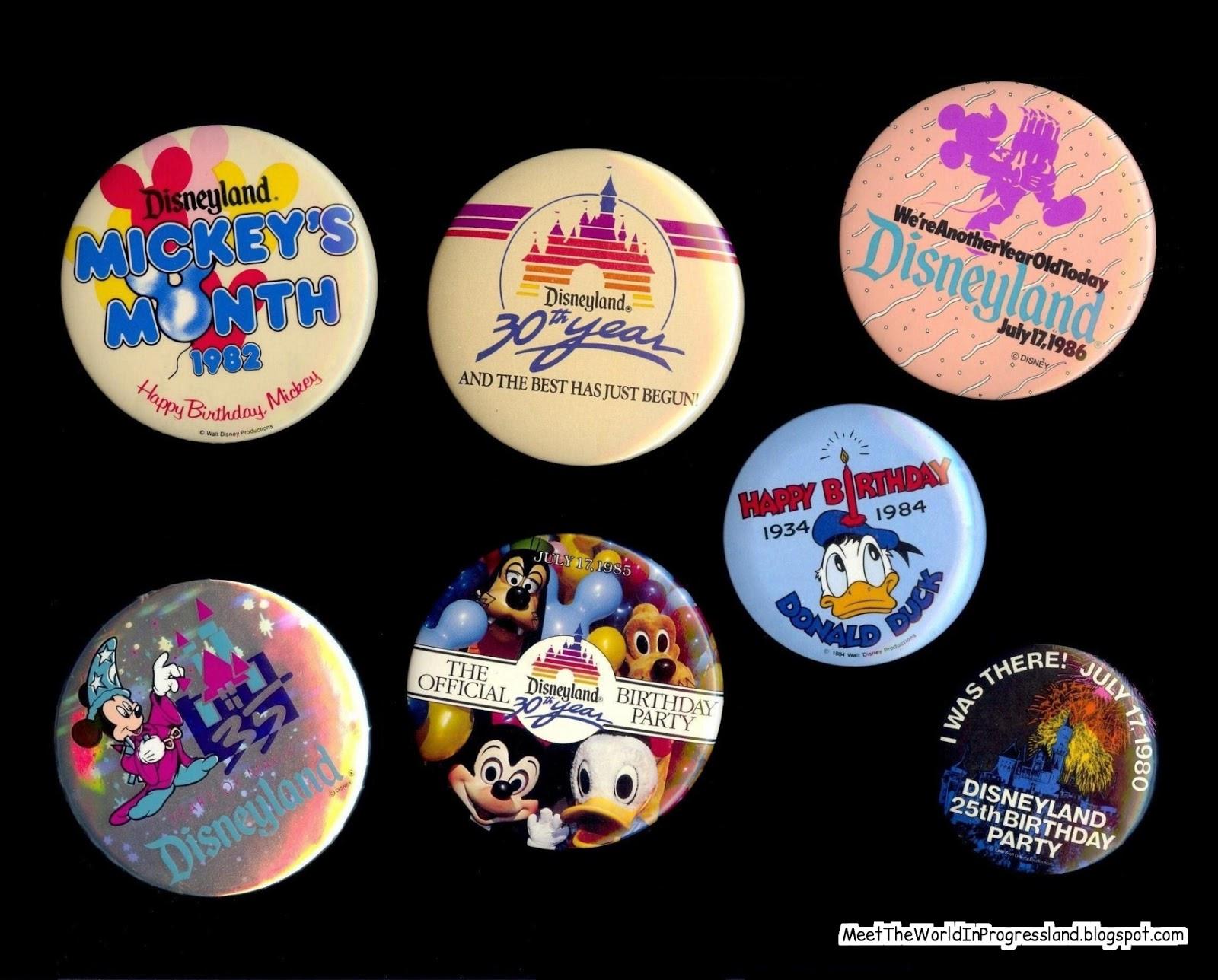 1990s Vintage Happy 24th Birthday Walt Disney World Donald Duck Alien Encounter Pinback Button