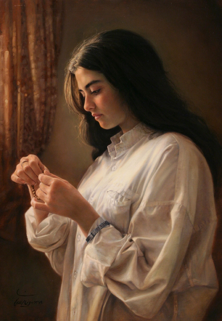 13-A Girl-by-the-Window-Iman-Maleki-Realistic-Paintings-that-Portray-Intense-Expressions-www-designstack-co