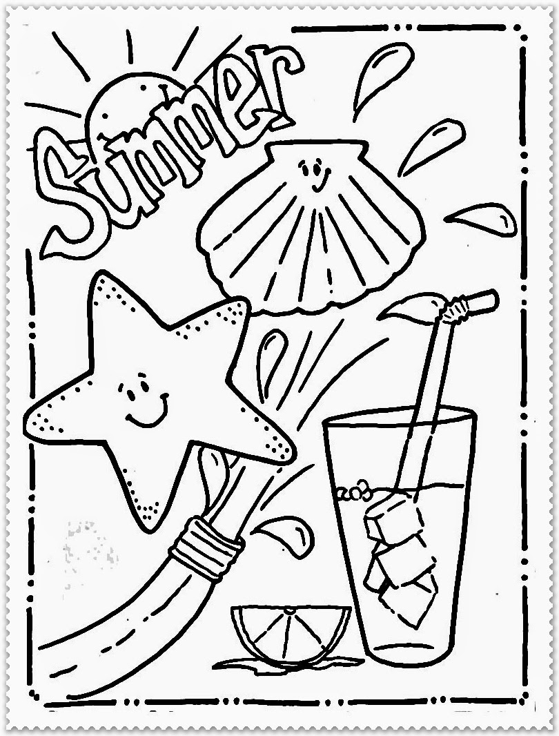 summer water fun coloring pages