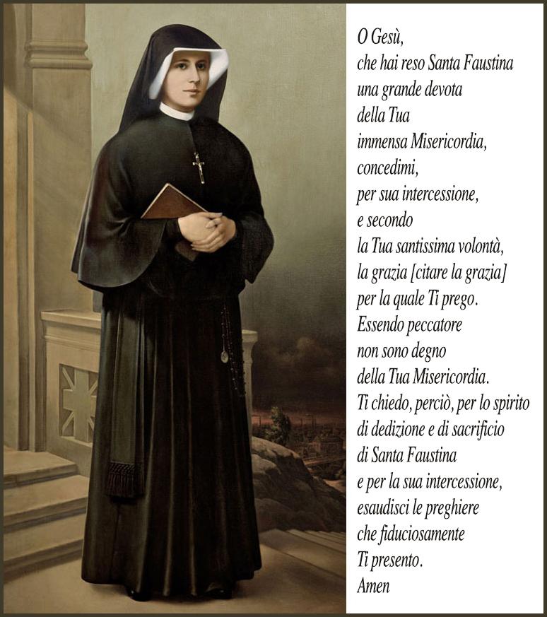 Il Diario Di Suor Faustina Preghiera Per Ottenere Lintercessione