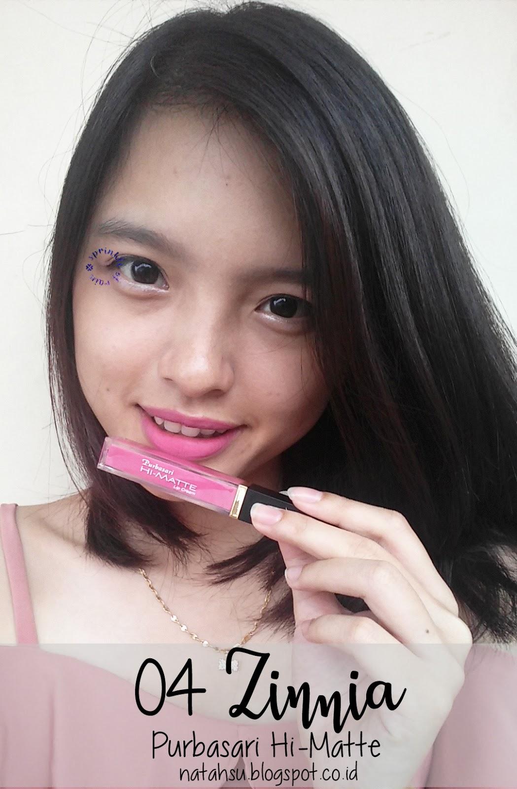 Review Swatches Purbasari Hi Matte Lip Cream Sprinkle Of Rain Lipstick 04 Zinnia