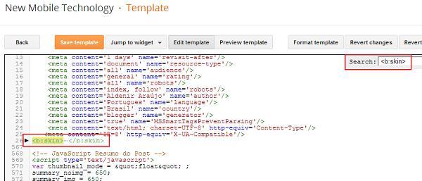 <b:skin> tag in code lines
