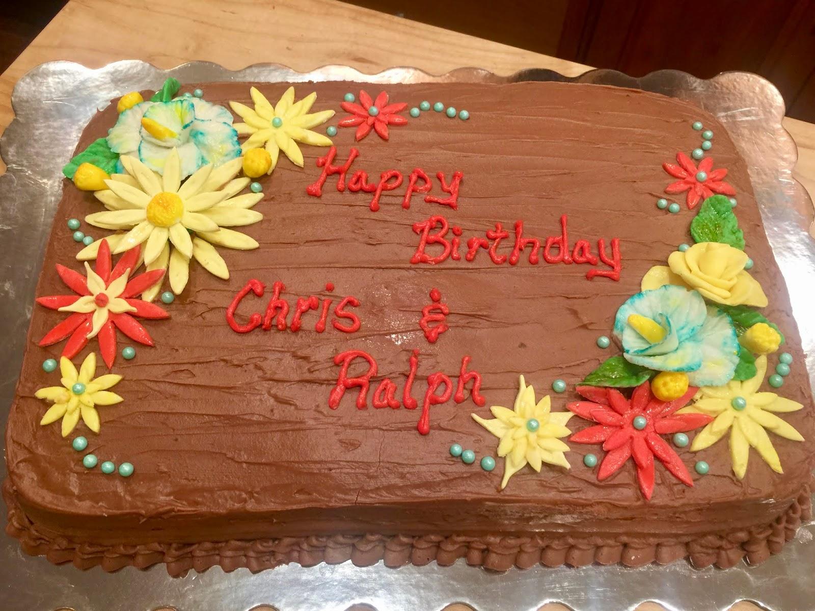 HAPPY BIRTHDAY BOYS CHOCOLATE BUTTERCREAM FROSTING AND CAKE FONDANT FLOWERS