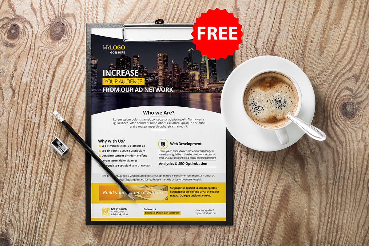Free Corporate PSD Flyer Template, PSD Flyer Template