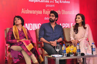Aiswarya Rajinikanth Dhanush Standing on an Apple Box Launch Stills in Hyderabad  0056.jpg