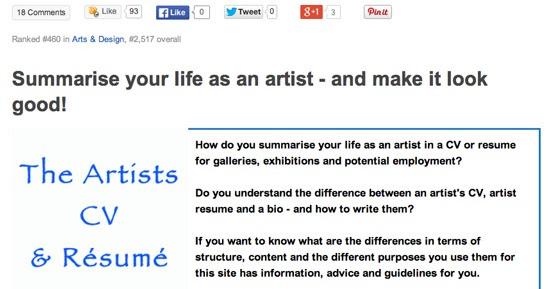 MAKING A MARK How to write an artist\u0027s CV