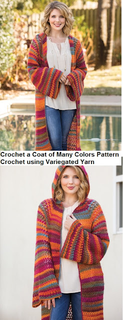 Crochet a Coat of Many Colors Sweater with Hood Pattern