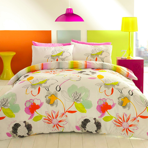 Zandra rodhes, floral pattern, bedding, bedline, sheets, fashion design, colourful bedding