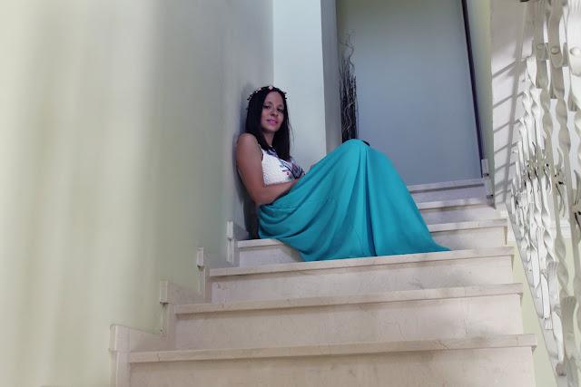 Vestido largo verde y blanco super barato de Zaful
