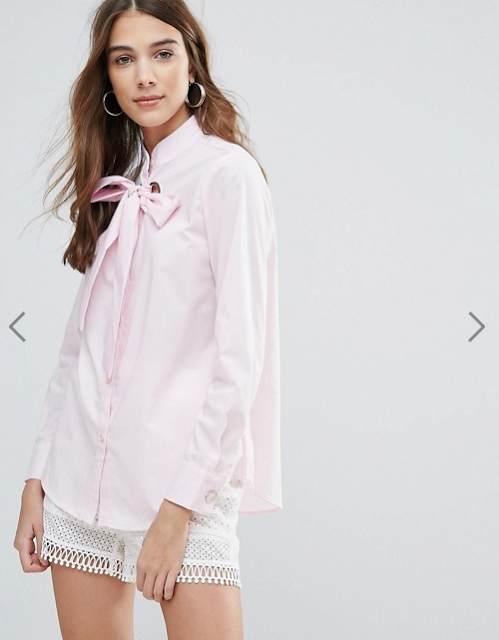 pink pussy bow blouse