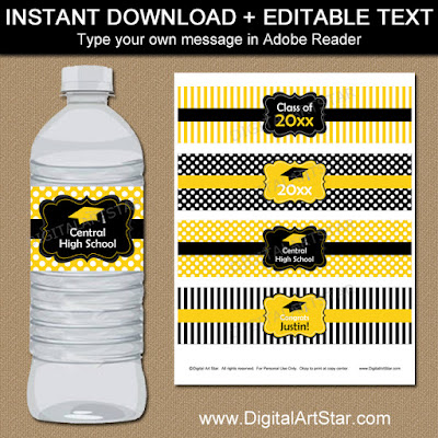 yellow black high school graduation party decorations - printable water bottle labels with editable text