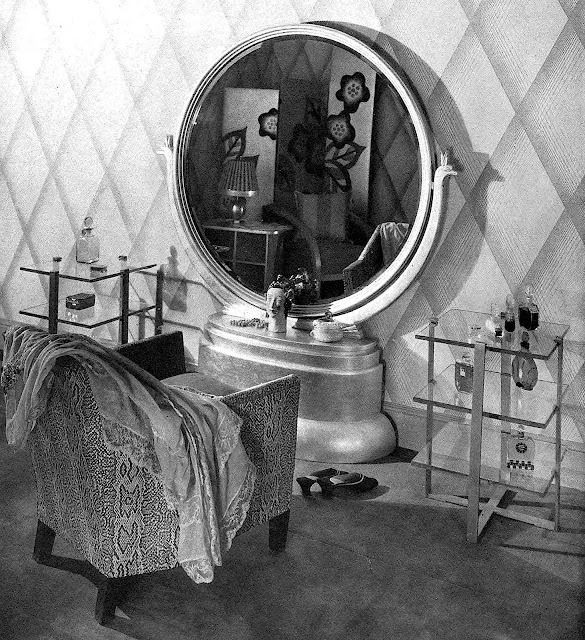 A photograph of a women's dressing vanity, 1930s?