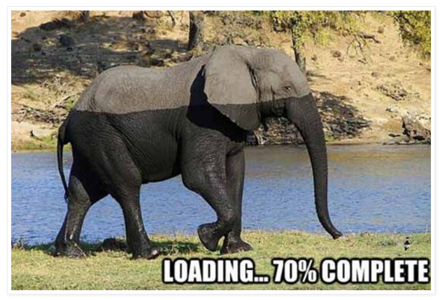Elephant Computer Tech Funny Loading 70% Complete - Friday Frivolity Everything Elephants -- funny memes and gorgeous vintage wildlife photography!  Plus Nessie, the Loch Ness monster, creeps in there too.  Did you know that some people believe that the Nessie photograph is of an elephant swimming in the loch??  Plus, the link-up for everything fun, funny, happy and hopeful, where hosts comment, pin, tweet, and want to get to know you!  Join the linky blog party!  #FridayFrivolity
