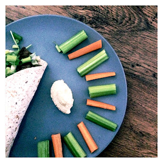 Veggies, steak wrap, carrot, celery, red pepper, onion, spinach, spring onion, houmous, ginger, chillies, garlic