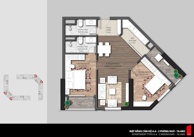 Thiết kế căn hộ A4 - 76,4m2 chung cư The Emerald