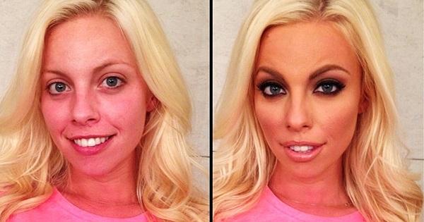 Ошеломляющая правда о порноактрисах! 30 эпатажных снимков звезд пикантного кино до и после макияжа.