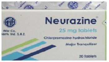 دواء نيورازين Neurazine مضاد الذهان, لـ علاج, الذهان، العدوانية, الفُصام، الهَوَس، الخرف,  اضطراب القلق, البرفيرية الحادة, انفصام الشخصية, اضطراب التحدي الاعتراضي, الكزاز المستعصي, الغثيان والتقيؤ الذي يسببه علاج دوائي أو إشعاعي أو كنتيجة لتخدير عام, السلوكيات العدوانية او النشاط المفرط عند الأطفال (1 - 12 سنة)