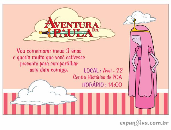 Aniversario De Texto: Convite Aniversário Hora De Aventura