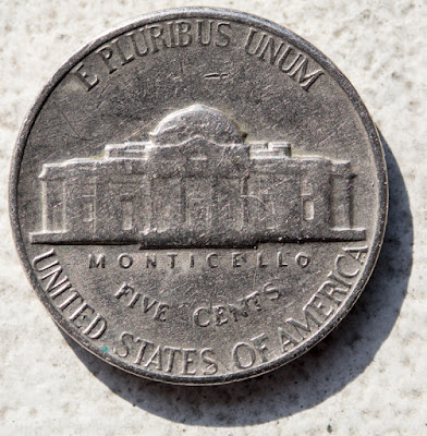 Reverse of of 1967 Nickel, Monticello