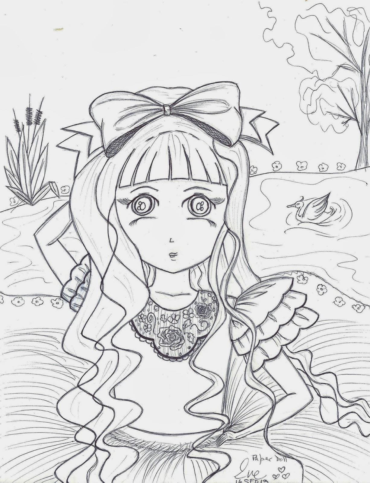 Paper Doll Eve Little Girl Coloring Page