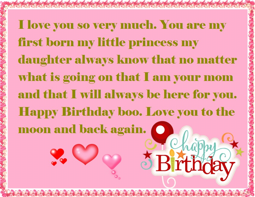 Mother To Daughter Birthday Wishes Happy