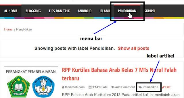 Tutorial Memasukan Postingan kedalam Menu Bar Blog
