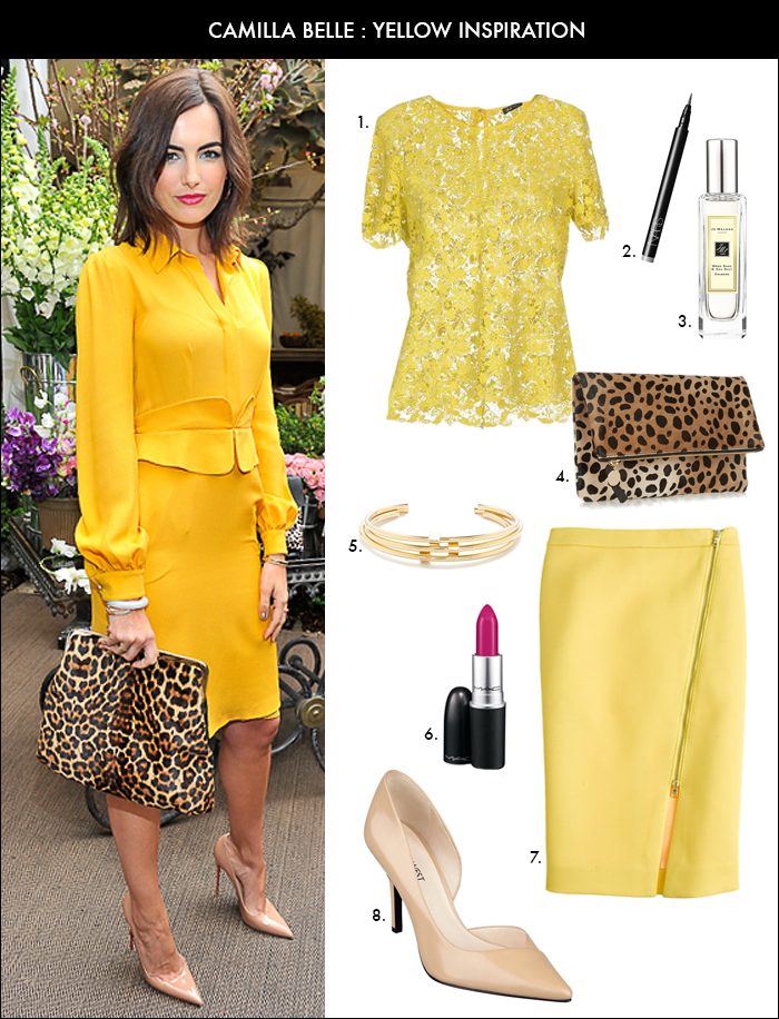 camilla belle, yellow pencil skirt, clare v clutch, leopard print, how to wear one color