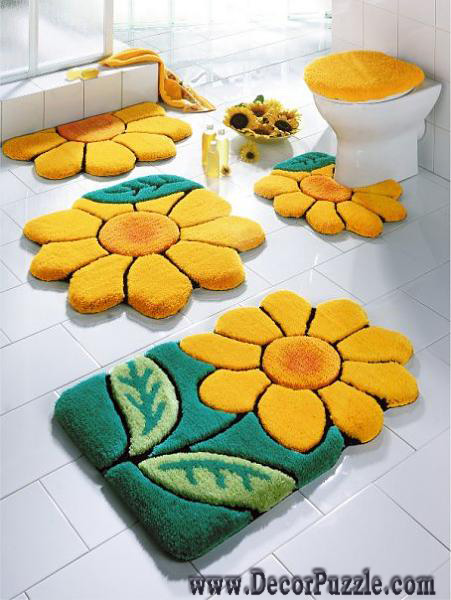 flowers bathroom rug sets, bath mats 2018, yellow and green bathroom rugs and carpets