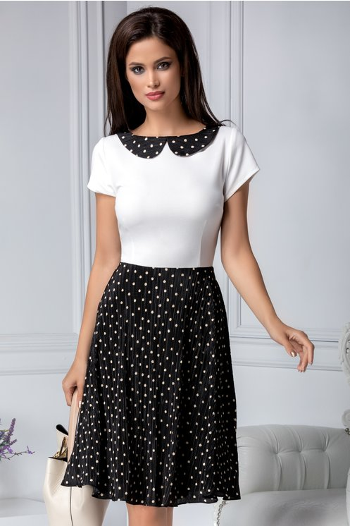 Rochie marime mare de vara alb cu negru si imprimeu cu buline
