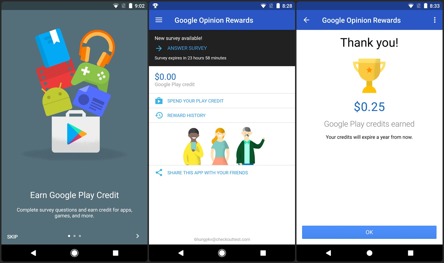 Free Google Play Store Credits from Google Opinion Rewards App