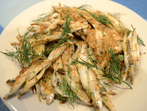 Whitebait and dill fritters