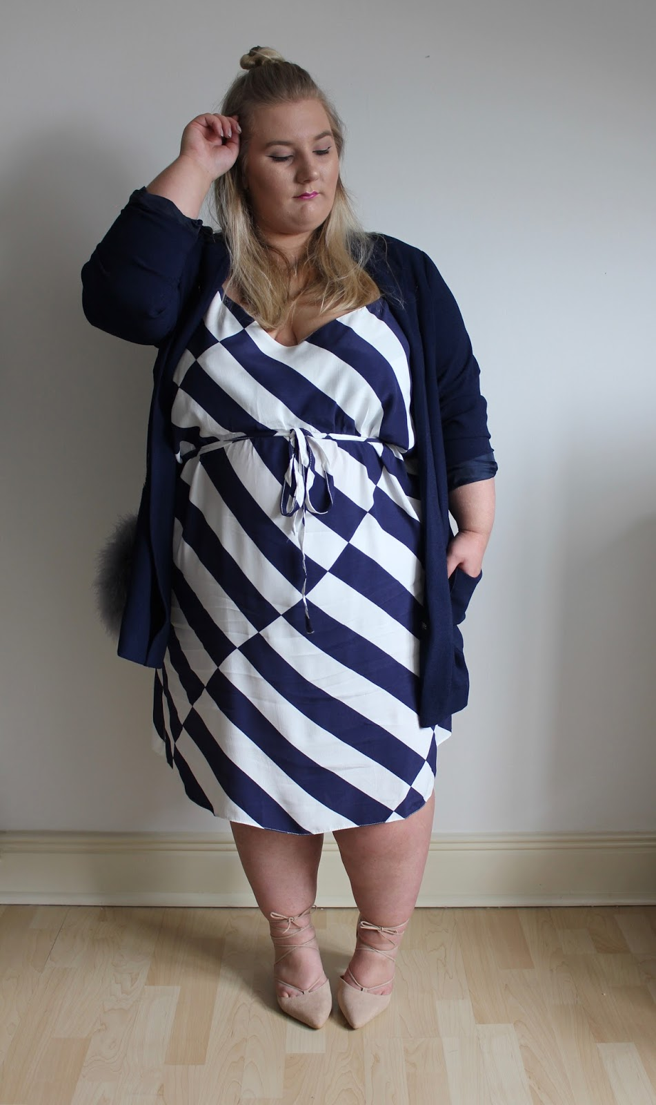New Look Curves Blue Stripe Tie Waist Slip Dress
