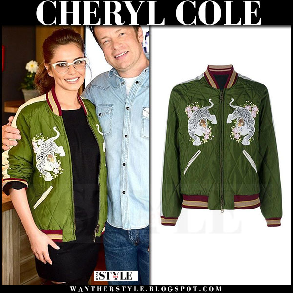 Cheryl Cole in green embellished satin bomber jacket chloe what she wore