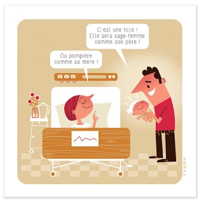Clod illustrations égalité homme-femme pour le CNFPT