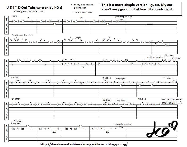 Anime Guitar Tabs: Tabs for K-on! - U u0026 I