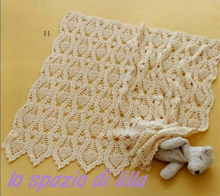 Knitted Baby Blanket With Squares