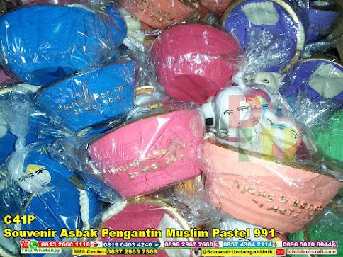 jual Souvenir Asbak Pengantin Muslim Pastel 991