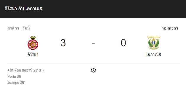 แทงบอล ไฮไลท์ เหตุการณ์การแข่งขันระหว่าง คิโรน่า vs เลกาเนส