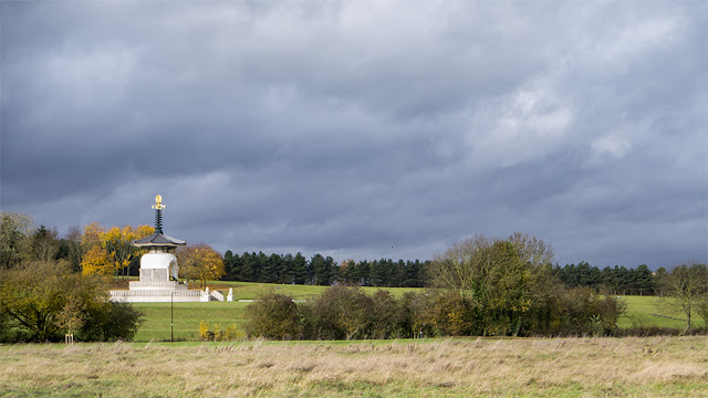 Peace Pagoda with Dramatic Skies