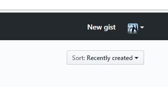 Creating new gist in GitHub.