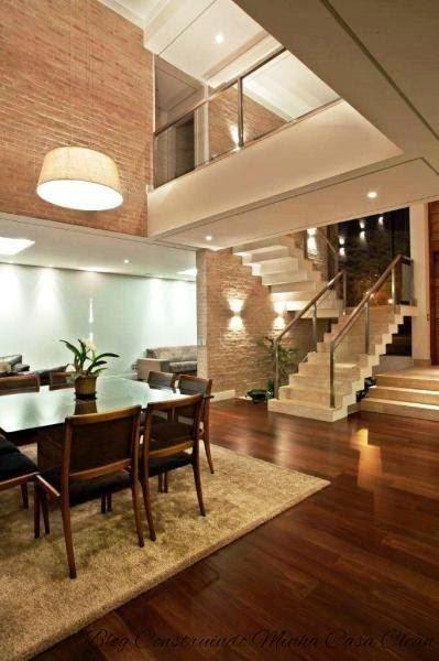 construindo minha casa clean ilumina o de salas modernas p direito duplo. Black Bedroom Furniture Sets. Home Design Ideas